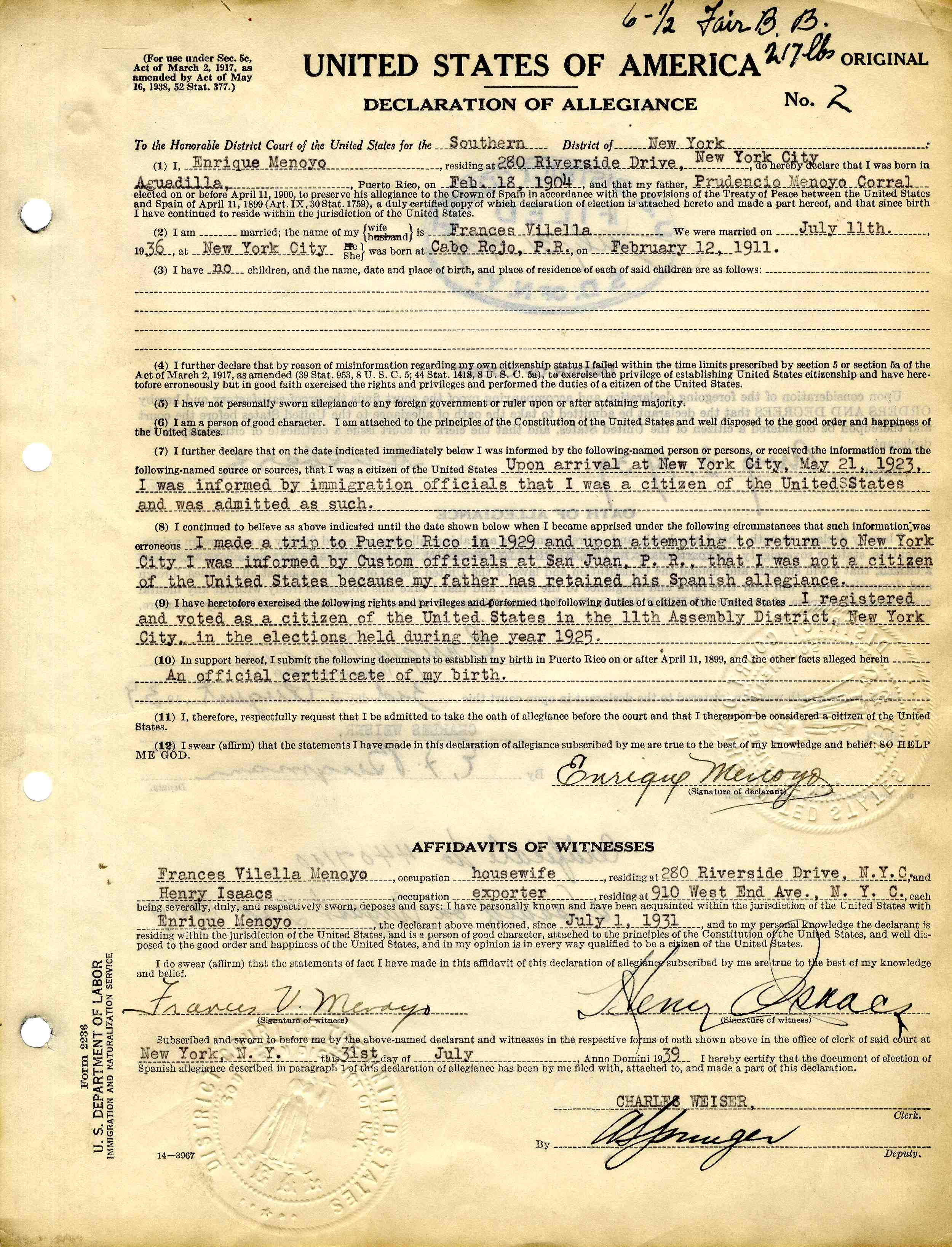 Declarations Of Allegiance Puerto Rico And American Citizenship