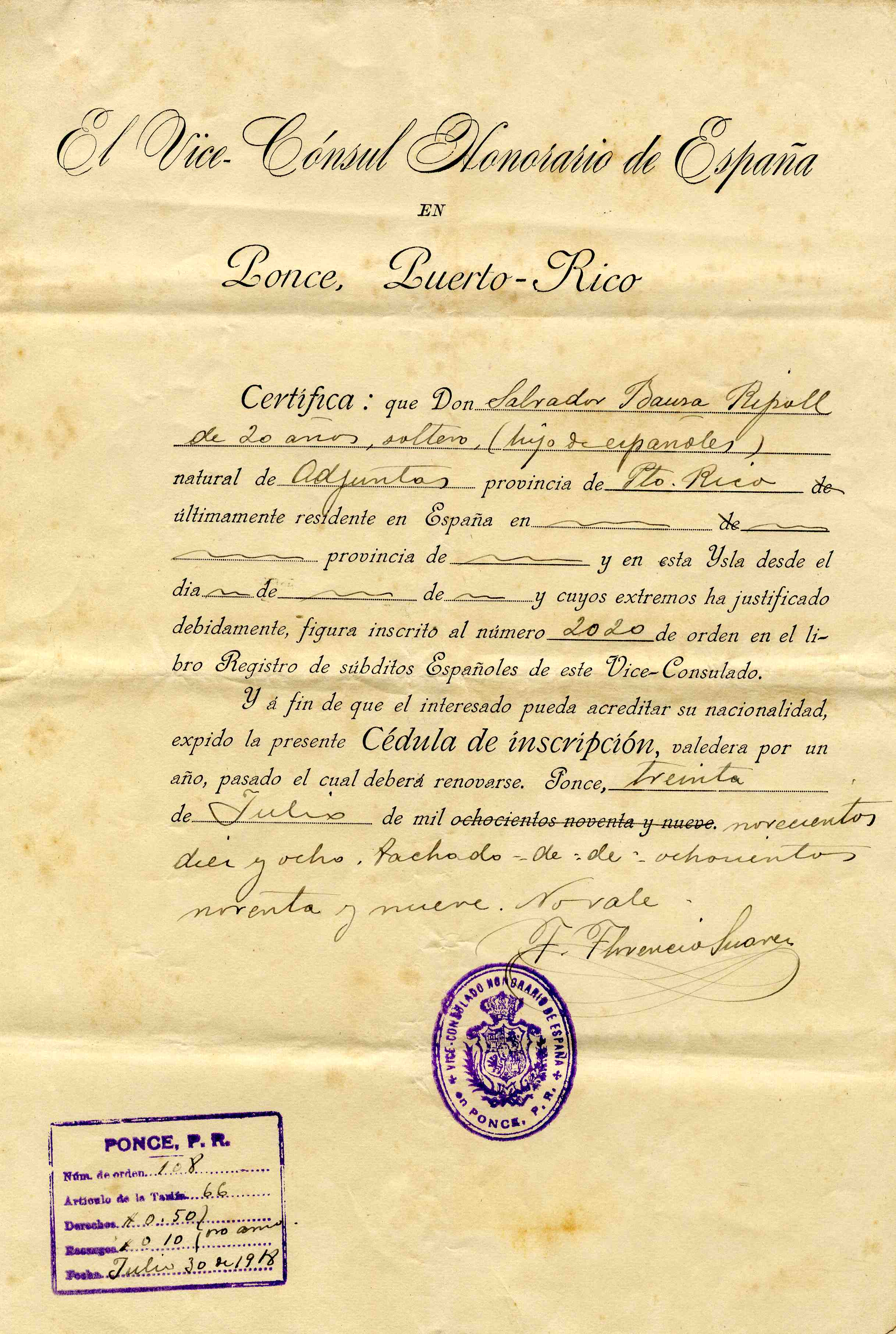 Declarations of persons retaining spanish citizenship puerto rg21usdcprdeclspancitzbauzayripoll001g certificate aiddatafo Image collections